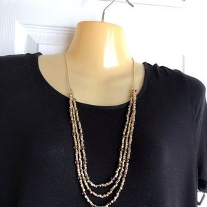 White House Black Market Gold Beaded Necklace NWOT
